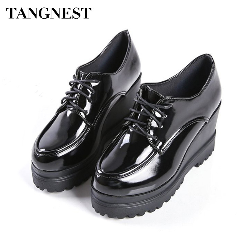 Tangnest Women Platform Shoes Height Increasing Flats Soft PU Leather Casual Shoes Round Toe Fashion Women Flats XWC1318
