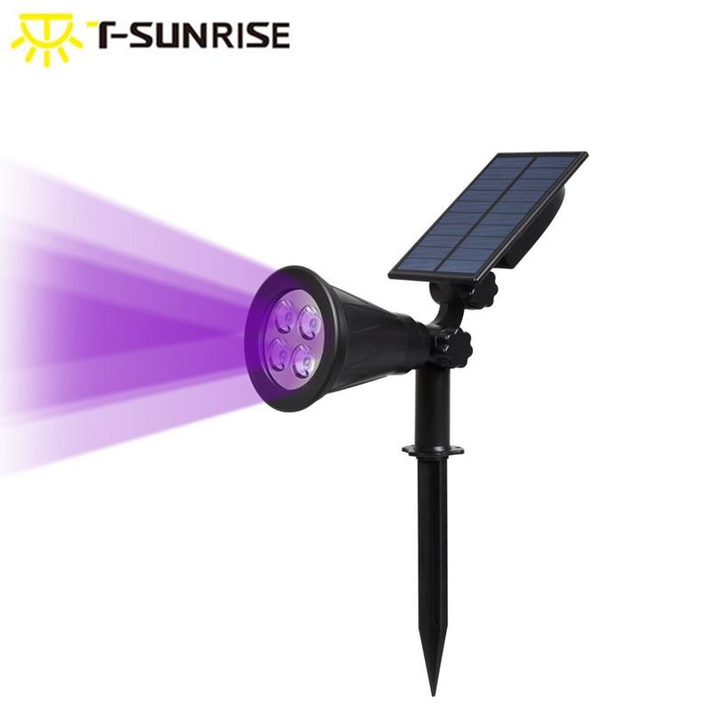 все цены на T-SUNRISE LED Solar Spotlight 2-in-1 Waterproof Landscape Light Wall Light Adjustable for Yard Garden Driveway Purple Color онлайн