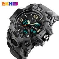 SKMEI-Reloj de pulsera analógico deportivo de lujo para hombres, cronógrafo de cuarzo digital led, impermeable, con dos pantallas, militar