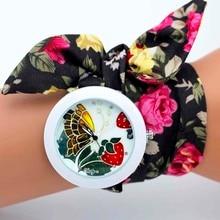 Designer Ladies flower cloth wristwatch, Fashion women dress watch high quality fabric watch sweet girls bracelet watch