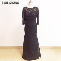 E JUE SHUNG Black Lace Long Sleeves Mother of the Bride Dresses 2017 Mermaid Evening Dresses Long Formal Dresses robe de soiree