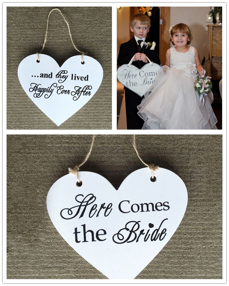 Rustic Wedding Two-Side Different Print Wooden Here Comes the Bride Wedding Signs Wedding Flower Girl Signs Photo Props Decors