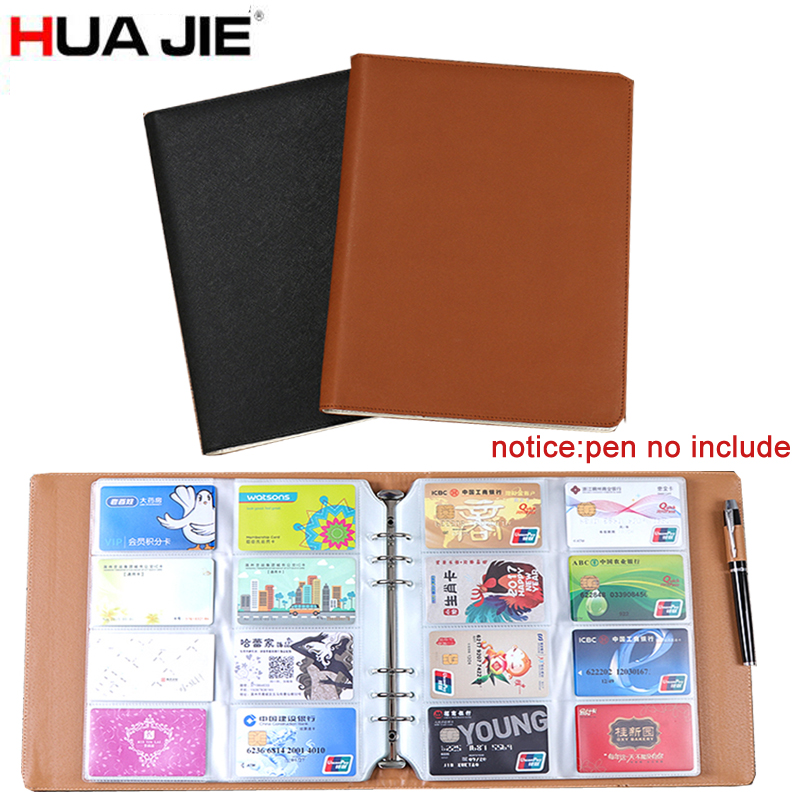 HUA JIE 480 Slots Office Business Card Holder Books/Case Unisex PU Leather Journal/ Credit/Name/Band Card Organizer Postcard Bag bovis 5102 02 casual man s pu credit name card wallet slots coffee