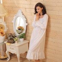 Brand Sleep Lounge Women Sleepwear Cotton Nightgowns Sexy Long Robe Home Dress White Nightdress Plus Size Long Sleeping