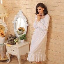 Thương hiệu Ngủ Phòng Chờ Phụ Nữ Ngủ Áo Ngủ Cotton Sexy Dài Robe Home Dress Trắng Nightdress Cộng Với Kích Thước Dài Ngủ