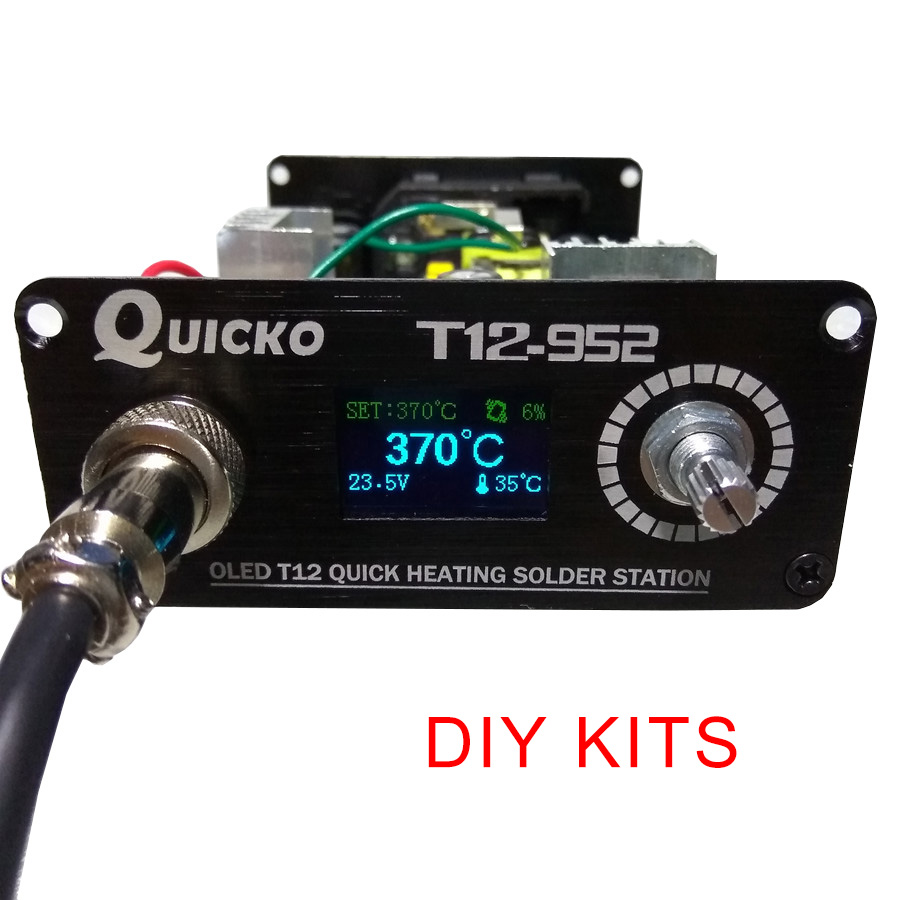 QUICKO T12 STC OLED soldering Station iron DIY parts kits T12 952 Digital Temperature Controller Soldering iron with Metal case|Electric Soldering Irons|   - AliExpress