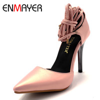 ENMAYER PU Material Lace Up 2017 Pumps Shoes Woman High Heels Pointed Toe Solid Thin Heels