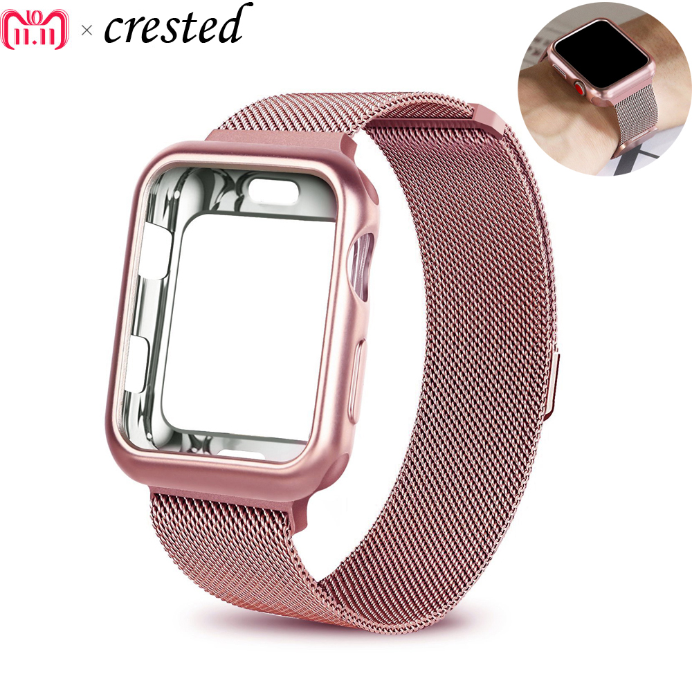 Fall + strap für Apple Uhr Band 42mm 38mm iwatch serie 3/2/1 armband handgelenk edelstahl Mesh Milanese Schleife metall armband