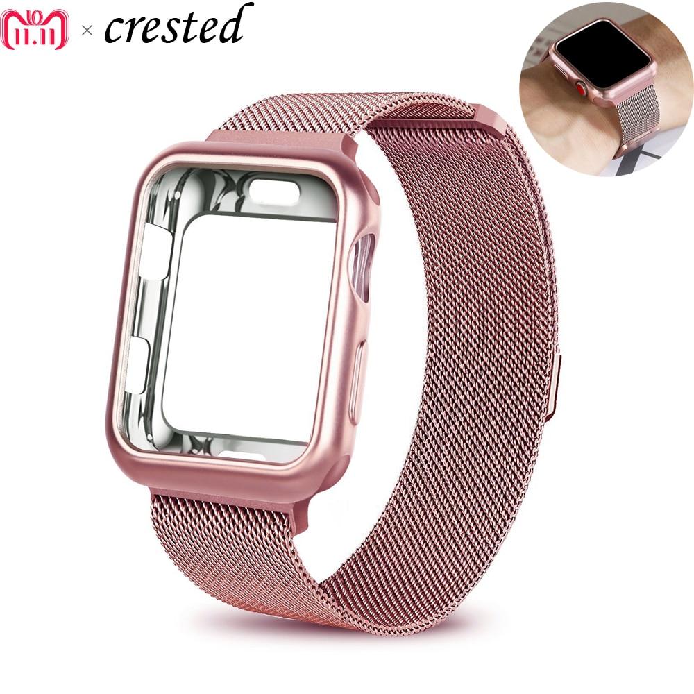 Funda + correa para Apple Watch Band 42mm 38mm iwatch series 3/2/1 pulsera de acero inoxidable malla Milanese Loop metal watchband