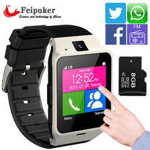 Wearable Device Health Pedometer Mp3 Waterproof Bluetooth gv18 Smartwatch with SIM Card Mobile GSM Android Smart Watch Phone