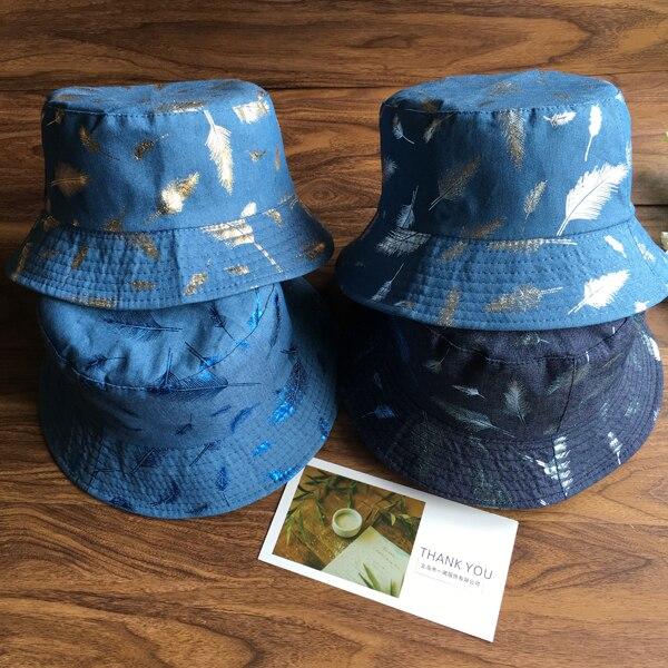 ef5f122bf8e4b New Arrival Feather Print Bucket Hats Unisex Fold Blue Boonie Caps Fashion  Casual Flat Fisherman Bucket Hats