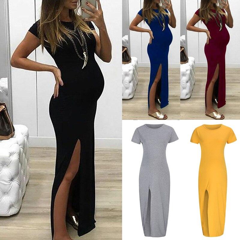 Women Solid Tight-fitting Long Pregnant Dresses Pregnancy Dress Short Sleeve Open Fork Maternity Dress Vestido Gestante 4829