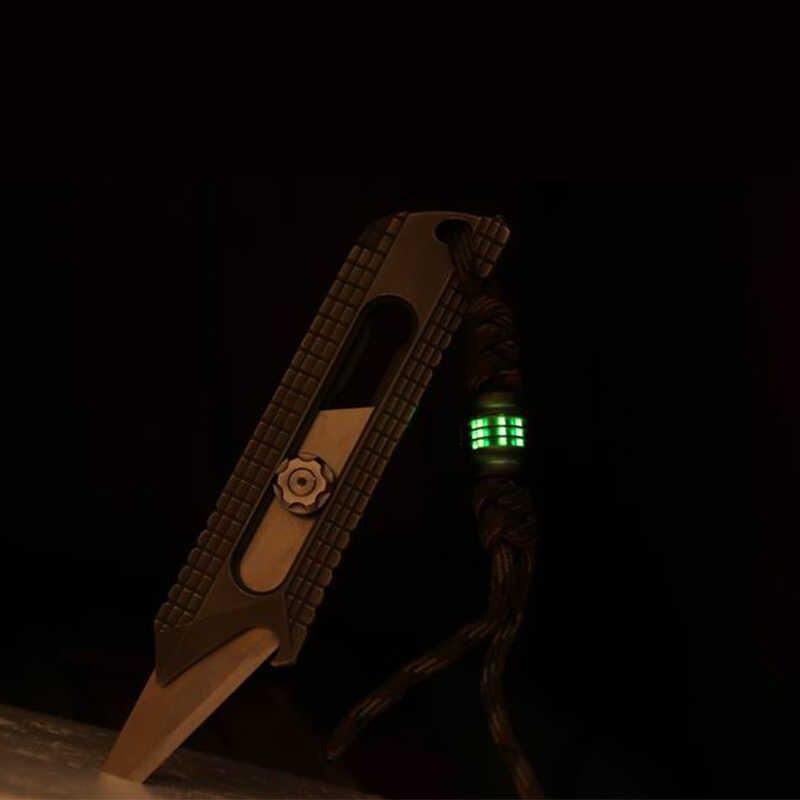 1PC Titanium Paduan Pisau Manik-manik Lanyard Liontin Paracord Payung Tali Kalung Gelang Liontin Dapat Menginstal 6 Tritium Tabung