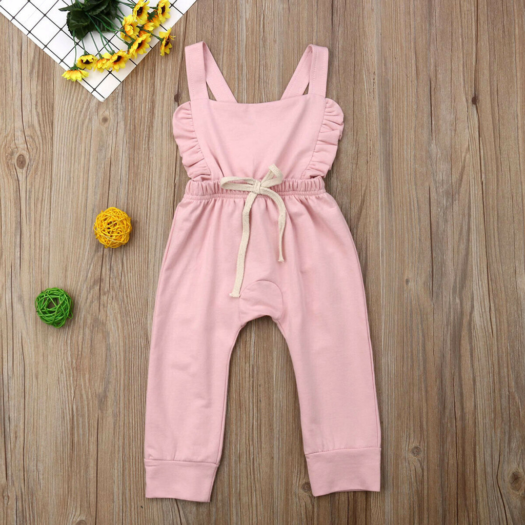 Newborn Baby Girl Boy Backless Striped Ruffle Romper Overalls Jumpsuit Clothes Onesies kid clothing toddler clothes baby costume