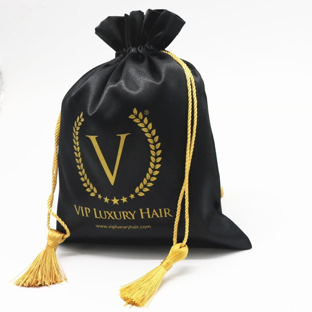 Satin Drawstring Bag Shiny Silk Pouch Jewelry/Package/Cosmetic/Gift/Wedding/Party/Wig/Hair Bundles Tassel Print Logo Custom 50p