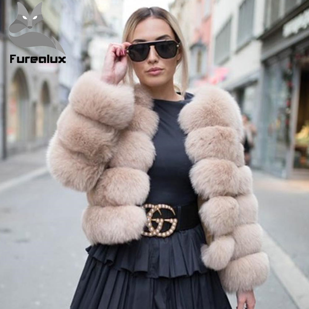 Furealux New Women Warm Real Fox Fur Coat Short Winter Fur Jacket Outerwear Natural Blue Fox Fur Coats For Women Hot Promotion(China)