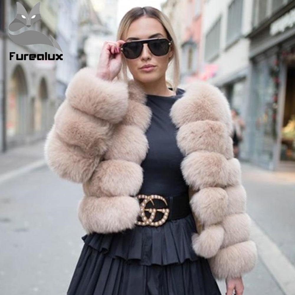 Furealux nouveau femmes chaud réel manteau de fourrure de renard court hiver veste d'extérieur en fourrure de renard bleu naturel manteaux pour femmes Promotion chaude