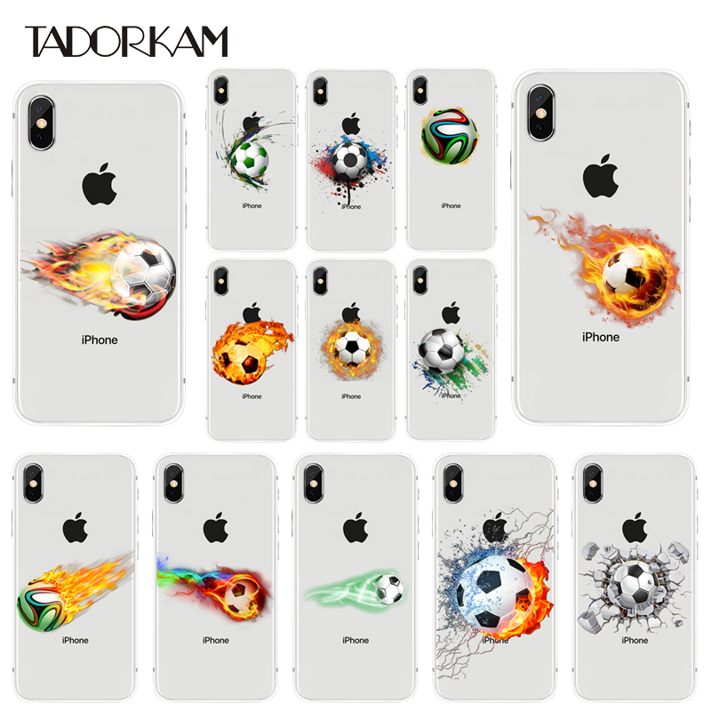 Football Soccer Ball Pattern Clear Soft Phone Cover Smart Phone Case For phone 6/6s 6plus/6splus 7/8 7Plus/8plus TPU Case
