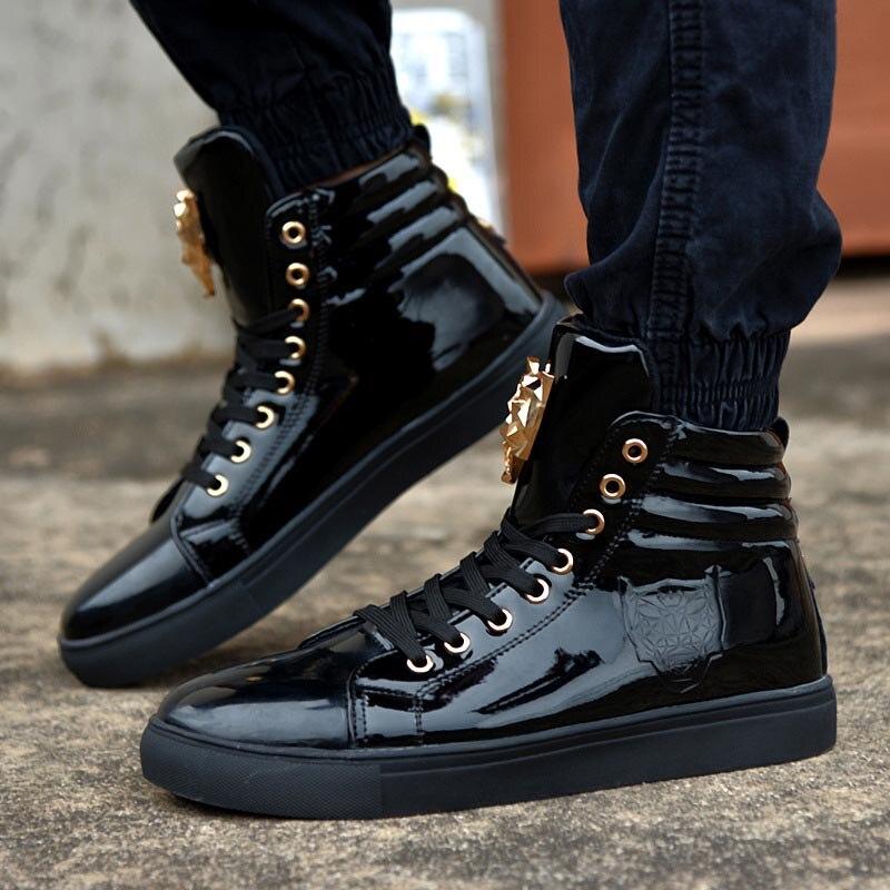 Chaussures Dentelle Noir Hommes High Pour 2017 Cuir Couleur Pu Casual noir Beige Top Nouveau Up En Mode rouge Rouge Blanc qWZBqwXg0P