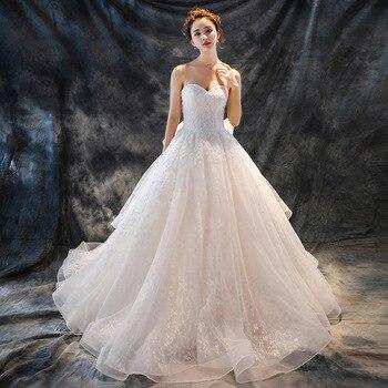 Dubai Light Champagne Lace Wedding Dress Appliques Floral Puffy Bridal Gowns Pearls Beaded Wedding Dresses Vestido De Novia