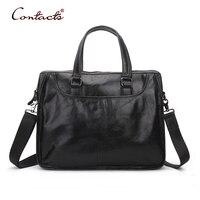 CONTACT S Men Genuine Leather Handbag Crossbody Bags Vintage Over Shoulder Tote Laptop Black Luxury Brand