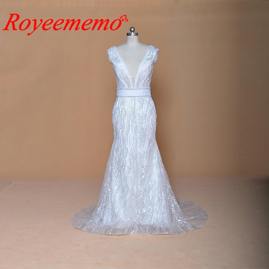 2019 Hot Sale Special Shiny Lace Mermaid Wedding Dress