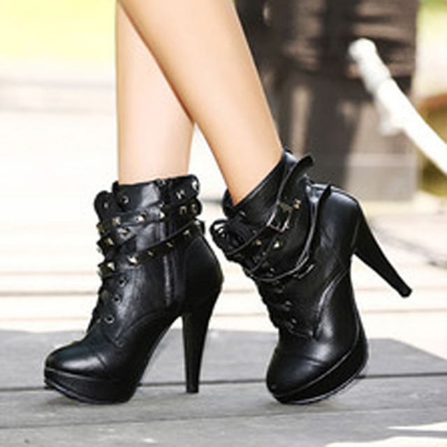 6fb28d5f0c2f 2018 spring fashion Women Black High Heel Martin Ankle Boots Buckle Gothic  Punk Motorcycle Combat Boots Platform shoes