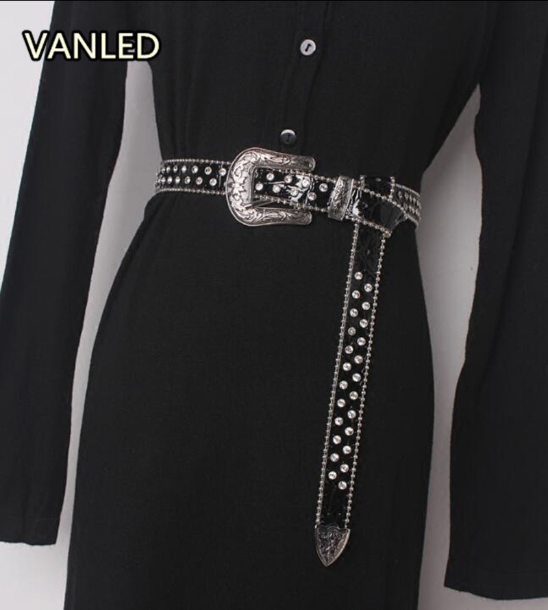 New Fashion Casual Buckle Leather Bead Edge Bling Bling Woman Accessary