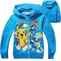 Crianças Pokemon Com Capuz Moletom Com Capuz Jaqueta casaco meninos meninas hip hop outwear primavera outono vermelho azul zipper roupas foe 4 5 6 7 8 anos velho
