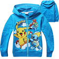 Kids Pokemon Hooded Hoodie Jacket boys girls coat hip hop outwear spring autumn red blue zipper clothes foe 4 5 6 7 8 years old
