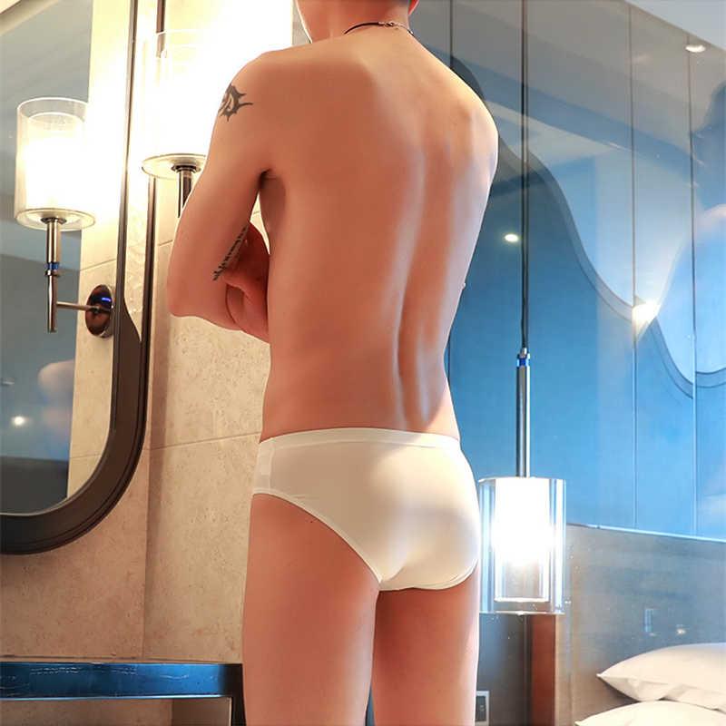 Calcinha de seda gelo dos homens novos e um traço de seda ultra-fino respirável translúcidas cuecas de cintura baixa confortável roupa interior fresco masculino