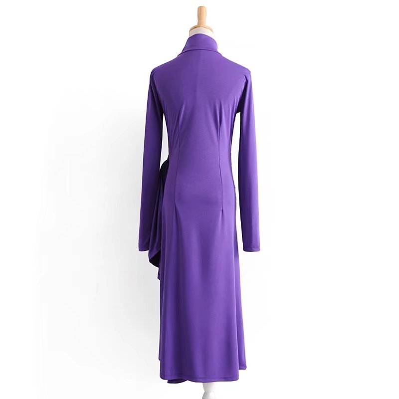 551671e5525 2018 Women Spring Long Sleeve Purple Dresses Turtleneck Long Dress on  Aliexpress.com