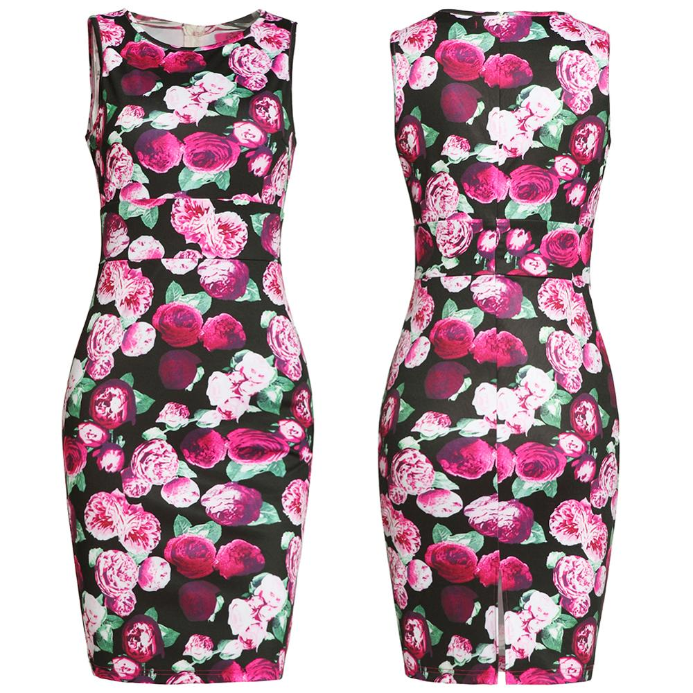 2019 Summer Vintage Elegant Office Lady Women Dresses Sleeveless round Girls Sexy Female Dress slimming shape fashion clothes in Dresses from Women 39 s Clothing