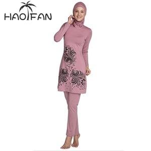 Image 1 - HAOFAN 2018 בתוספת גודל בגדי ים מוסלמיים נשים צנוע פרחוני הדפסת מלא כיסוי בגד ים אסלאמי חיג אב האיסלאם Burkinis וחוף אמבט