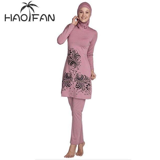 Haofan 2018 plus size muçulmano banho de banho feminino modesto floral impressão cobertura completa maiô islâmico hijab islam burkinis banho
