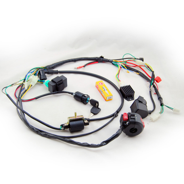 aliexpress com buy full electrics wiring harness coil cdi spark full electrics wiring harness coil cdi spark plug kits for 50cc 70cc 90cc 110cc 125cc 140cc