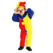 Детский костюм клоуна для косплея, Детский комбинезон на Рождество, Год, Хэллоуин, супер дешевый костюм, комбинезон, шапка, нос