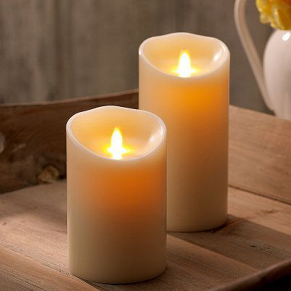 Ksperway Set Of 2 Led Moving Flame Real Wax Pillar Candles Ivory Candle With Realistic Flicker And Circuit Board Style White 355 357 Inch In Indoor Wall Lamps From Lights Lighting On