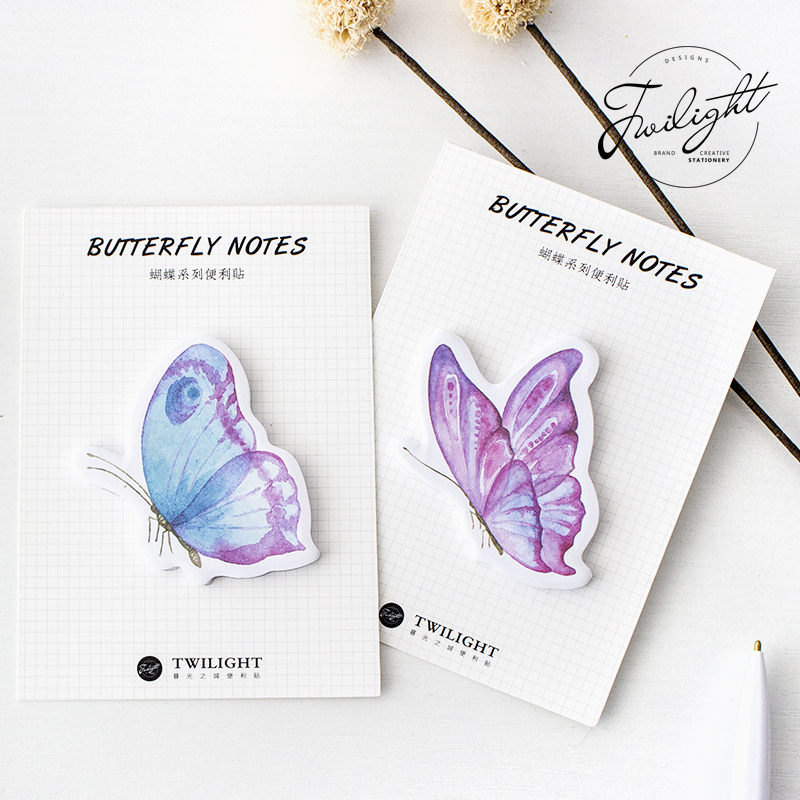 4 pcs/Lot Butterfly notes Sticky marker Nature paper memo pad Post sticker Stationery Office accessories School supplies 6681 1pc lot cute rabbit design memo pad office accessories memos sticky notes school stationery post it supplies tt 2766
