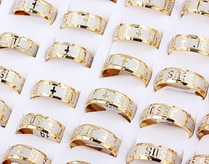 Wholesale Bulk Lots 6Pcs 8MM Golden I Love Jesus Cross Stainless Steel Ring Band Wedding Engagement Xmas Gift