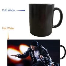 Hip hop eminem mug wärme offenbaren morphing kaffee tassen wärme farbwechsel bier magie keramik tee
