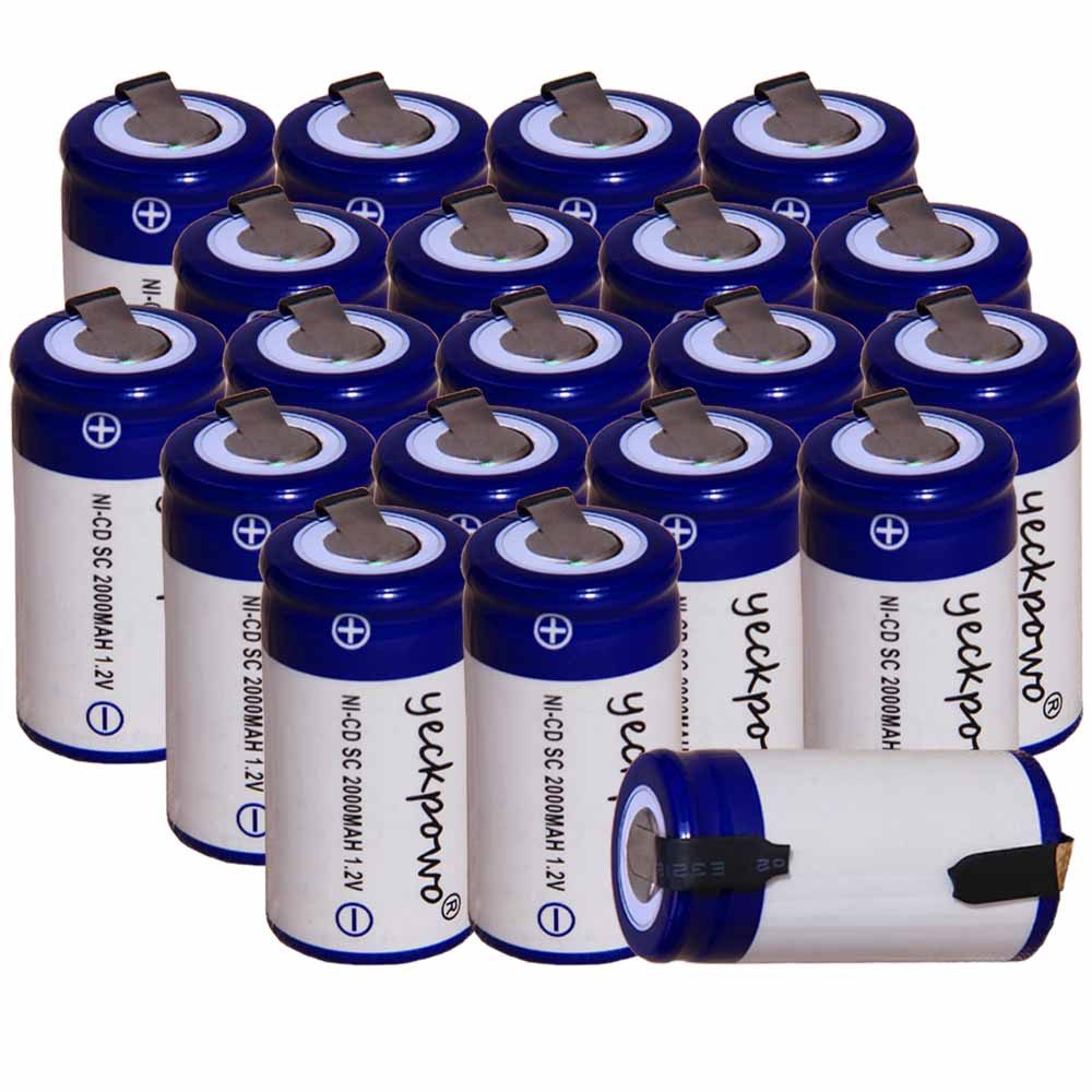 Lowest price 20 piece SC battery 1.2v batteries rechargeable 2000mAh nicd battery for power tools akkumulator