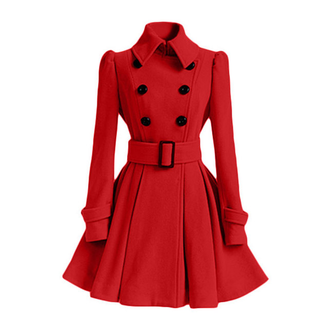 2017 Fashion Good Quality Europe Winter Spring Woolen Coat Belt Buckle Trench Coat Double Breasted Coat Long Sleeve Casual Dress