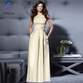 Clássico Estilo Simples A-Line Prom Dresses Satin Boat Neck Open Back Evening Partido Vestido Custom Made