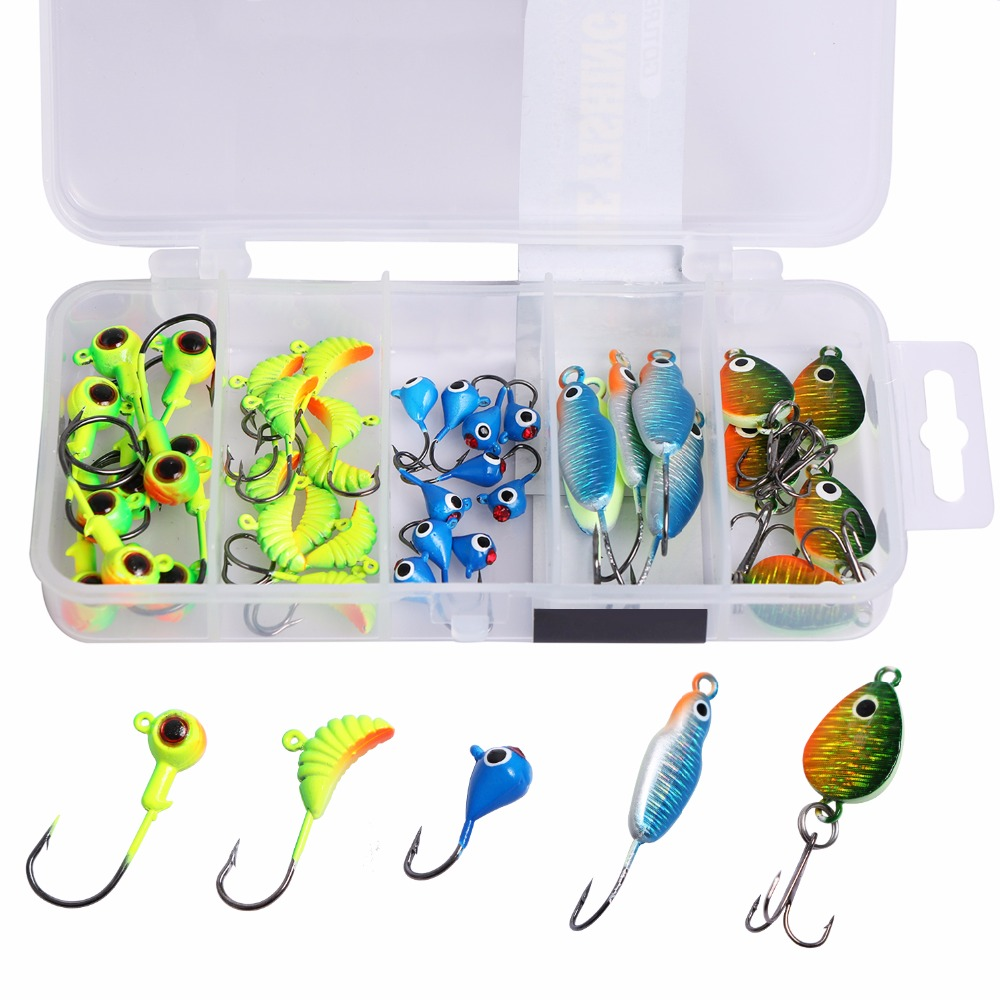 US $16 99 50% OFF|Goture 40pcs Winter Ice Fishing Lure Vertical Jigging  Fishing Bait 0 6g 6g Artificial Grub Jig Spoon Set For Pike Walleye  Perch-in