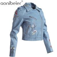 Aonibeier chaqueta 2017 primavera moda Otoño floral Bordado corta Abrigos manga larga epaulet mujeres Tops Delgado pu Outwear