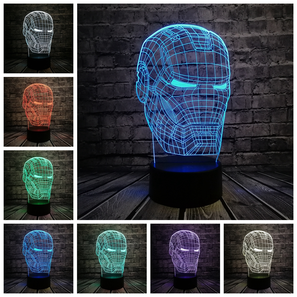 New Marvel Avengers 3D Lamp Iron Man Mask LED Night Light Superhero Movie Figure Novelty illusion Creative Kids Toy Boy USB Gift free shipping 1piece new arrive marvel anti hero deadpool figure light handmade 3d bulbing illusion lamp led mood light for kid