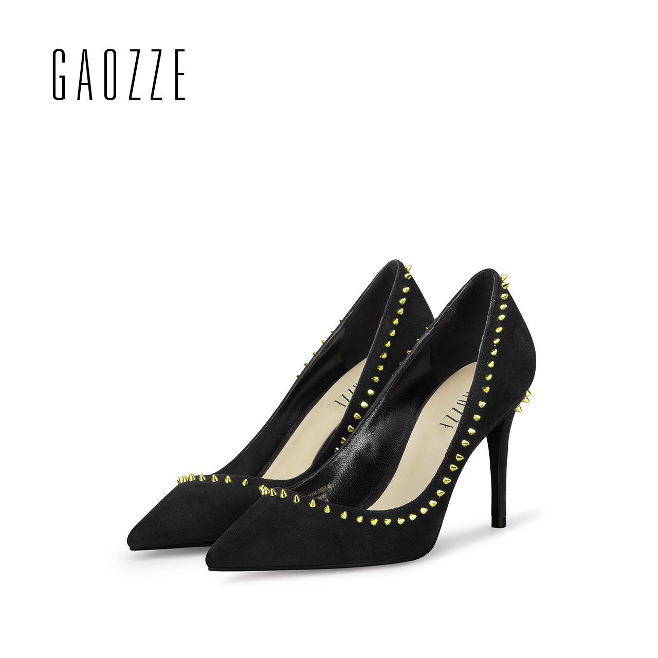 GAOZZE sexy pointed toe high heels pump shoes casual female shoes women shallow mouth rivets party shoes black 2017 autumn new black 2016 wine red navy blue cashmere genuine leather round toe shallow mouth ultra high heels female boots female