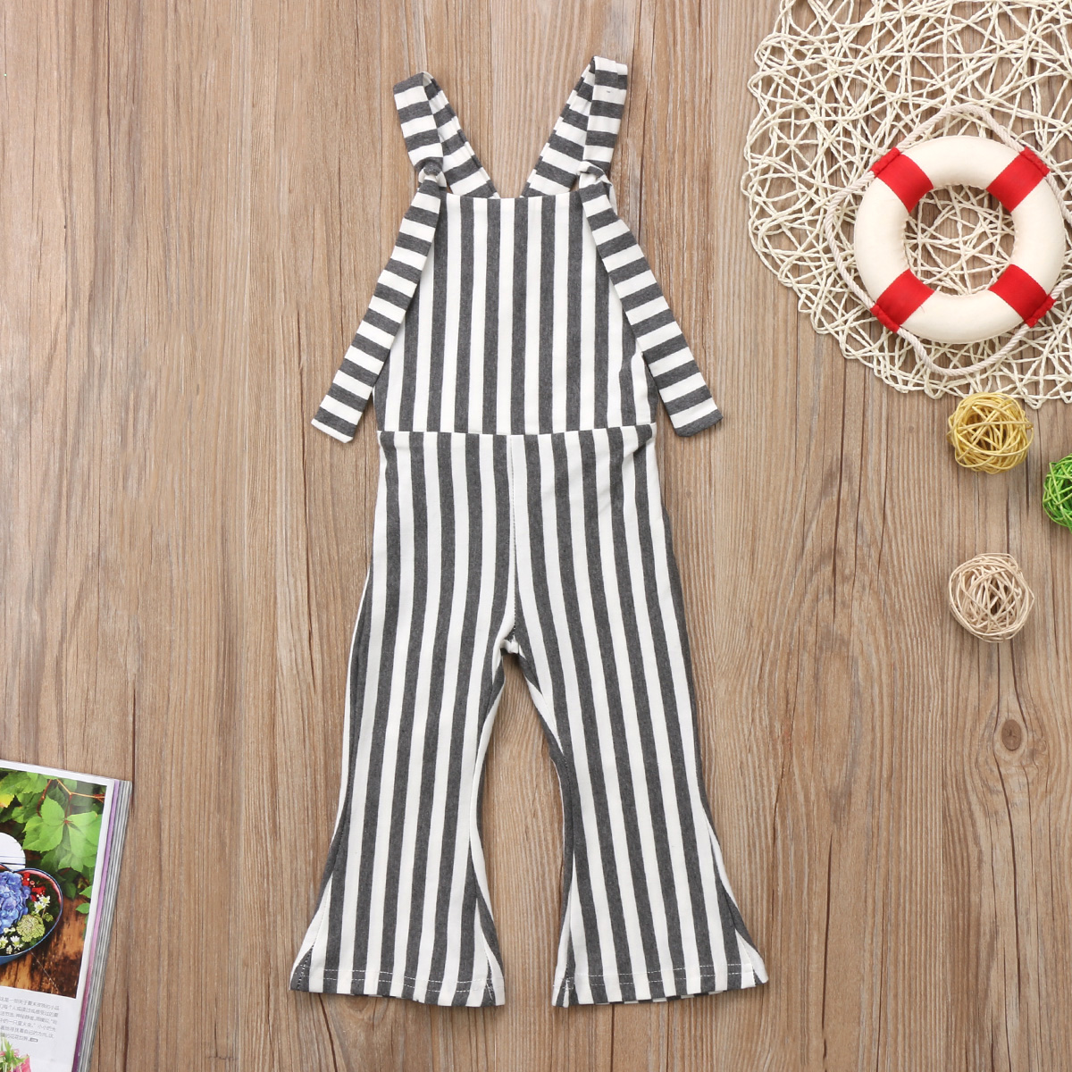 US Fashion Toddler Kids Baby Girls Striped Clothes Romper Jumpsuit Pants Outfit