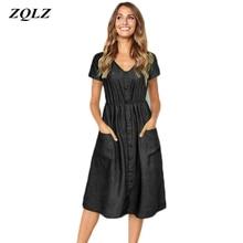 171e50100 Zqlz 2019 verano Vintage vestido de las mujeres ropa de cuello V manga  corta de una sola fila hebilla vestido de bolsillo de Cas.